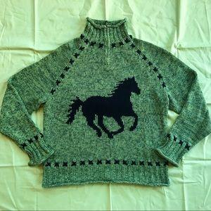 Vintage Knit Horse Turtleneck Sweater